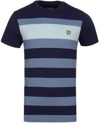 Lyle & Scott - Striped Pique Navy T-shirt - Lyst