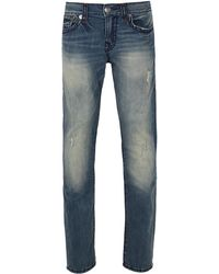 True Religion - Geno Flap Super T Mid Distressed Wash Blue Jeans - Lyst