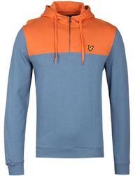 Lyle & Scott - 1/4 Zip Mist Blue Hooded Sweatshirt - Lyst