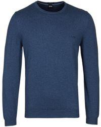 BOSS - Pacas-l Mid Blue Marl Knitted Sweater - Lyst
