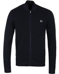 Fred Perry - Navy Tonal Panel Knitted Bomber Sweatshirt - Lyst