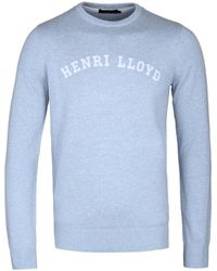 Henri Lloyd - Gell Regular Powder Blue Crew Neck Knitted Sweater - Lyst