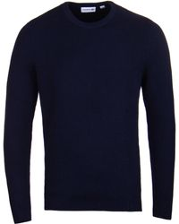 Lacoste - Marine Blue Ribbed Knit Crew Neck Jumper - Lyst