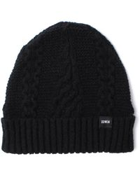 Edwin - Black Cable Knit Beanie - Lyst