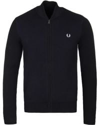 Fred Perry - Black Woollen Textured Bomber Cardigan - Lyst