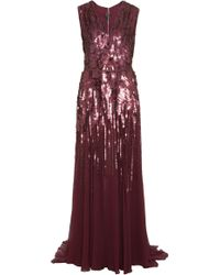 Elie Saab V Neck Sleeveless Embellished Gown - Lyst