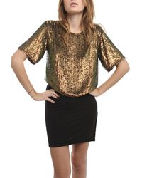 3.1 Phillip Lim Cropped Silk Sequined Top - Lyst