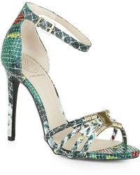 KG by Kurt Geiger Snake-Effect Havana Sandals - Lyst