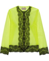 Christopher Kane Lace-trimmed Neon Tulle Jacket - Lyst