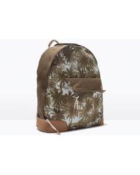 Zara Printed Denim Backpack - Lyst