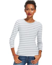Tommy Hilfiger Long-sleeve Striped Crew-neck Tee - Lyst
