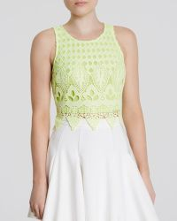 Lush - Top - Lace Cropped Shell - Lyst