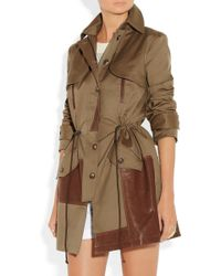 Thakoon Addition - Leathertrimmed Cottonblend Canvas Trench Coat - Lyst