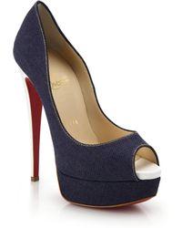 Christian Louboutin Lady Peep Patent Leather-Heel Denim Peep-Toe Pumps - Lyst