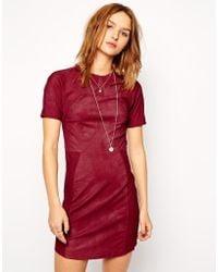 Twenty 8 Twelve Dovima Stretch Shimmer Leather Dress with Collar - Lyst