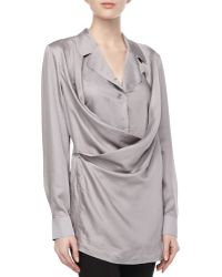 Donna Karan New York Draped-front Button Tunic - Lyst