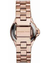 Michael Kors Mini Rose Golden Stainless Steel Camille Three-Hand Glitz Watch - Lyst