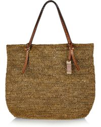 Michael Kors Rogers Large Raffia And Leather Tote - Lyst
