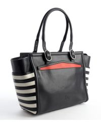 Christian Louboutin Black and White Calfskin Farida Bowler Bag - Lyst