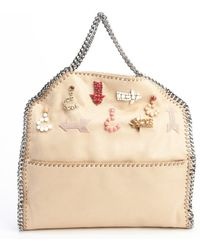 Stella McCartney Camel Faux Suede Embroidered Chain Tote - Lyst