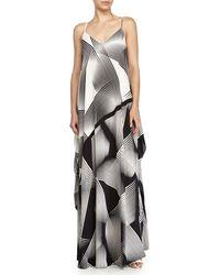 Halston Heritage Sleeveless Printed Evening Gown black - Lyst