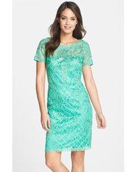 Sue Wong Women'S Ribbon Lace Sheath Dress - Lyst