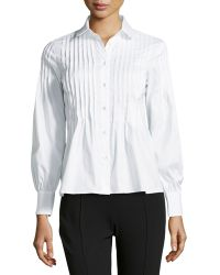 RED Valentino Crystalpleated Oxford Blouse - Lyst