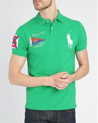 Polo Ralph Lauren Green Big Pony Flag Slim-Fit Polo Shirt - Lyst
