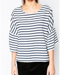 Wal-G - Stripe Top With Frill Sleeve - Lyst