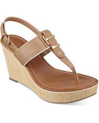 Tommy Hilfiger Maree Platform Thong Wedge Sandals - Lyst