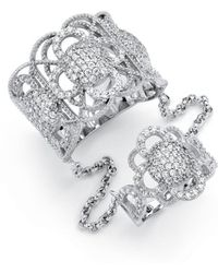 Palmbeach Jewelry - 1.69 Tcw Micro-pave Cubic Zirconia Vintage-inspired Floral Motif Knuckle Ring In Sterling Silver - Lyst