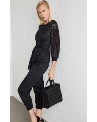 BCBGMAXAZRIA - Bcbg Pleated Sleeve Lace Jumpsuit - Lyst