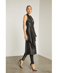 BCBGMAXAZRIA - Bcbg Faux Leather Drape Front Long Vest - Lyst