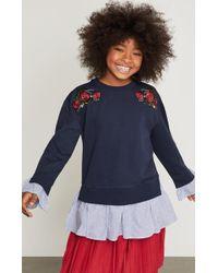 BCBGMAXAZRIA - Bcbg Striped Ruffle Sweatshirt - Lyst