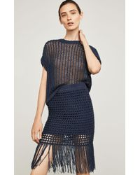 BCBGMAXAZRIA - Bcbg Fringe-trimmed Crochet Pencil Skirt - Lyst