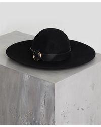 BCBGMAXAZRIA - Bcbg Faux Leather-trimmed Floppy Hat - Lyst