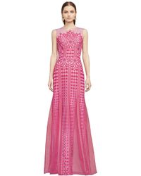 BCBGMAXAZRIA - Elinor Sleeveless Lace Gown - Lyst