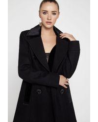BCBGeneration - Velvet-trimmed Double-breasted Coat - Lyst