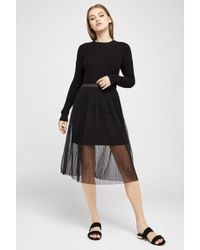 BCBGeneration - Long-sleeve Wide-neck Cotton Sweater - Lyst
