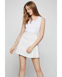 BCBGeneration Rainbow Stripe Pleated Skirt - White