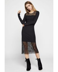 BCBGeneration - Lace-trimmed Jacquard Midi Dress - Lyst