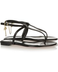 Alexander McQueen Embellished Leather Sandals - Lyst