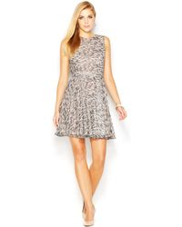 French Connection Sleeveless Wave Print Flared Dress - Lyst