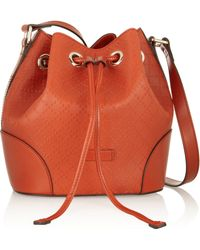 Gucci Bright Diamante Textured-leather Bucket Bag - Lyst