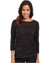 Calvin Klein Jeans Sheer Yoke 3/4 Sleeve Shirt - Lyst