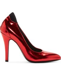 Maison Margiela Red Metallic Leather Pumps - Lyst