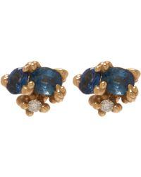 Ruth Tomlinson - Yellow Gold Sapphire Granule Stud Earrings - Lyst