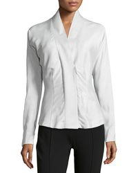 Donna Karan New York Tailored Faille Wrap Blouse - Lyst