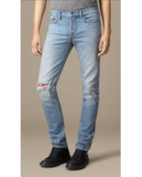 Burberry Slim Fit Washed Japanese Denim Jeans - Lyst