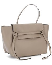 Celine Beige Leather Belt Small Trapeze Tote - Lyst